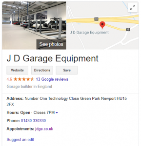 Google My Business JD Garage Equipment Results